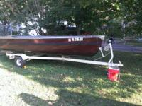 16 foot, 1960 Herters fiberglass Jon Boat with Cox