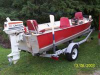16 foot lund aluminum boat,35 hp johnson,trolling
