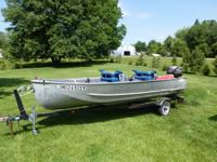 very good 16 ft. aluminum boat and 20 hp.johnson