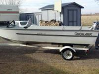 All welded Monark 16 ft. aluminum boat, like new, with