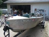 16 foot v bottom boat, trailer, 6hp Johnson outboard