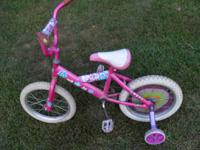 "A delicately used 16 inch size""Barbie Edition"" bicycle"