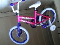 "Girls 16"" bike ridden once or twice, comes with"