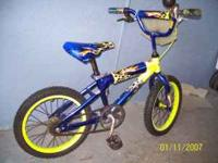 "16 inch ""Hot Wheels"" bike, blue and yellow design with"