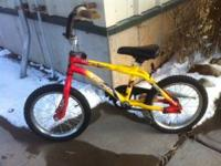 "Great 16"" bike BMX style. This bicycle red and yellow"