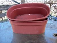 "I HAVE FOR SALE A PAIR OF 16"" OVAL COLOR PLANTERS TERRA"