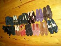 16 pair of womens shoes. Size range from 7 1/2 - 8 1/2
