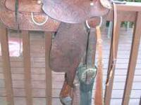 Hereford Brand Tex Tan saddle. This saddle has a 16""