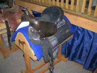 "FOR SALE: BLACK H&H SADDLERY USA MADE 16"" SEAT SADDLE."