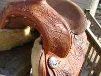 16 Inch Tooled Leather All Around Western Saddle.