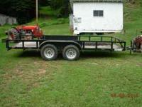 16' TRAILER DUEL WHEELS, RAMPS, BLACK IN COLOR, USED