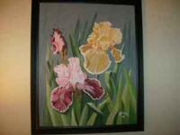 16 X 20 FRAMED ACRYLIC PAINTING OF IRIS FLOWERS. WOULD