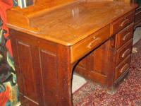Antique Oak Ladies Drop Front Writing Desk With Mirror And