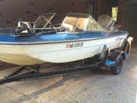 Walking stick cutter boat and trailer 16ft 85hp Johnson