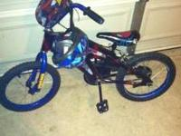 16in spiderman bike for boy with matching head and knee