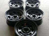I'm offering a set of 5 16x7 Soft 8 steel wheels with a