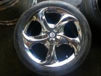 "A nice set of chrome 17"" rims with 1 good tire. 5 lug"