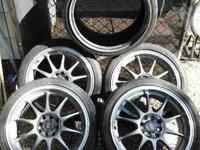 "4 bolt 17"" Enkei Wheels and Tires. Used on 90's honda"
