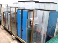 There are 17 fish tanks/aquariums available, ranging in