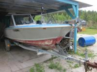 Boat, galvanized trailer and motor. Clear Florida