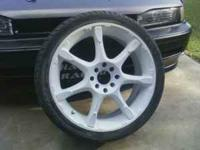 17 in white enkei rims with almost brand new tires. in
