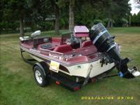 Ranger Bass boat with 115HP Mercury outboard and Silver