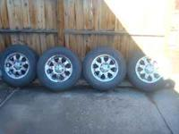 "For sale is a set of 17"" Les Schwab wheels mounted on"