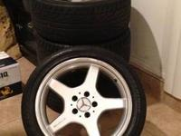 "Up for sale is a set of AMG 18"" wheels with tires."