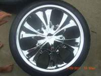 FOUR 18 INCH CHROME WHEELS AND TIRES FOR SALE, RIMS ARE