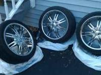 Brand new 18 inch Chrome rims mounted and balanced on