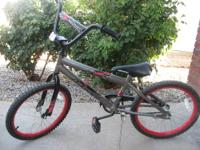 "We have an 18"" Black, Gray, & Red Boys' Huffy ""Rock-It"""