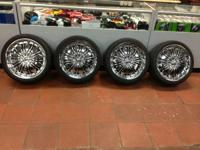 "18"" inch chrome rims with tires 5 lug universal 4.5 in"