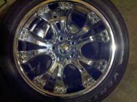 FOR SALE SET OF FOUR 18' RIMS AND TIRES BRAND NEW.