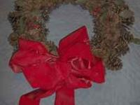 "18"" Pine Cone Christmas Holiday Wreath with Bow"