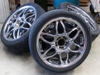 Black and Chrome 18 inch rims. Bolt pattern is 5 lug X