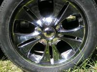 "18"" chrome rims, 2 sets of 18"" tires and wheel stud"