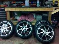 SELLING A SET OF 4 18 X 8 RIMS WITH 225/40/18 TIRES.