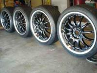 Selling 18x8' rims, they are black with a chrome 2'