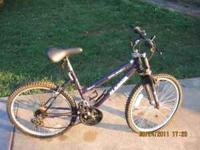 This is a Purple 18 speed Magna Bicycle. Moderate