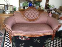 Beautiful 1800's Victorian Camel back chaise. This