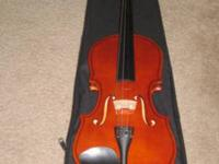 4/4 full size student violin loaded fully with hard