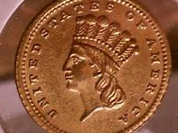 1857 C Indian Princess Large Head $1 US - Gold coin AU