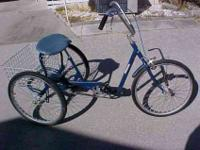 HERE IS AN ADULT TRICYCLE THAT HAS BEEN SANDED,PRIMERED