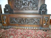 Beautiful Unique 1860 Hand Carved Lion Bench. $5,500