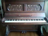 Beautiful Antique Upright Steinway Piano. Bench