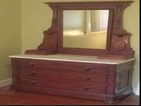 Nice solid wood chest marble top tilt mirror with