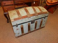 1880s metal and wood trunk - curved/humpback top. The