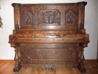 Beautiful case, antique Upright Grand Piano by Cable