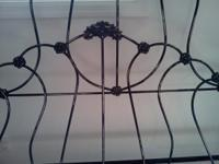 Victorian 1890s Black Wrought Iron Bed frame full size.