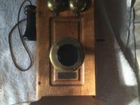 Beautiful antique oak Monarch wall phone for sale. The